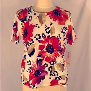 New Alfred Dunner Floral Beaded Sequin Shirt SZ PM